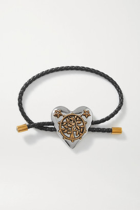 Alexander McQueen Heart Woven Leather, Silver And Gold-tone Crystal Bracelet - one size