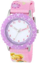 Disney Kids' W000294 Tinker Bell Stainless Steel Time Teacher Pink Bezel Printed Strap Watch