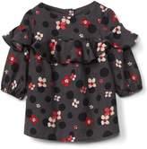Gap Floral linen ruffle dress