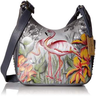Anuschka Women's Genuine Leather Classic Hobo With Studded Side Pockets - Flamboyant Flamingos