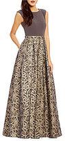 Calvin Klein Round Neck Sleeveless Brocade Gown