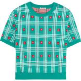 Miu Miu Intarsia Cotton Sweater - Teal
