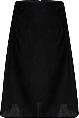 Emporio Armani Black Linen Pocket Detail Knee Length Skirt M
