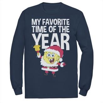 Nickelodeon Men's Spongebob Squarepants Santa Christmas Favortie Time Long Sleeve Graphic Tee