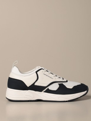 Emporio Armani Sneakers In Suede Leather And Mesh