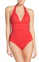 Tommy Bahama Women's Pearl Solids Pleated Halter One-Piece Swimsuit