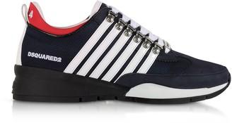 DSQUARED2 Men's Navy Blue & White Nylon, Nubuck and Rubber Sneakers