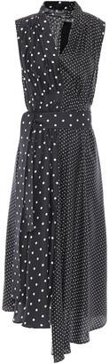 Adam Lippes Paneled Pleated Polka-dot Silk-twill Midi Dress
