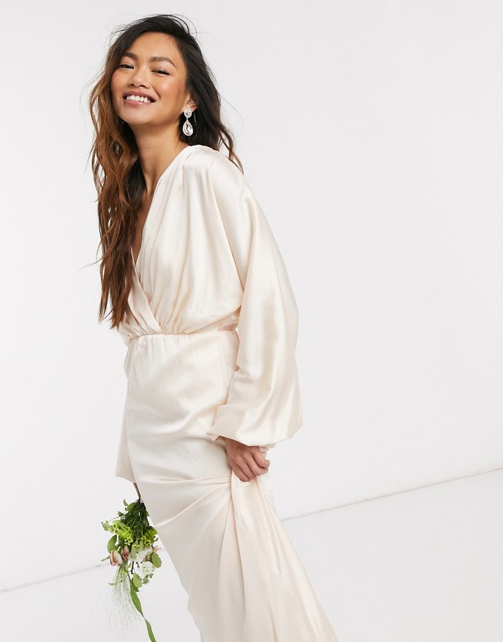 TFNC bridesmaids long sleeve sateen maxi dress in ecru
