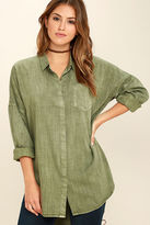 Do & Be Artista Washed Olive Green Button-Up Top