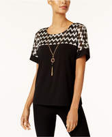 Alfred Dunner Deck The Halls Petite Zigzag Top with Necklace