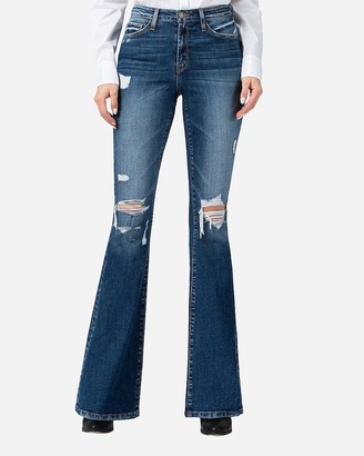 Express Flying Monkey High Waisted Distressed Bell Flare Jeans