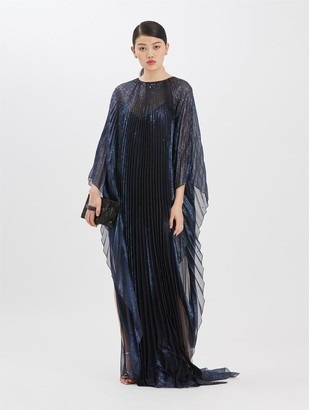 Oscar de la Renta Pleated Lame Mousseline Caftan