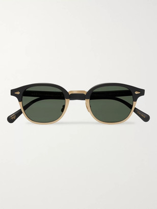 MOSCOT Lemtosh-Mac Round-Frame Matte-Acetate And Gold-Tone Sunglasses