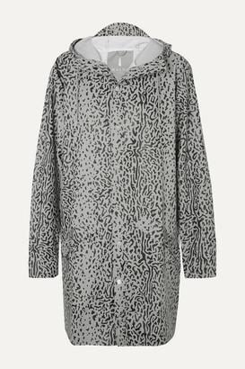 Rains Hooded Leopard-print Matte-pu Raincoat - Gray