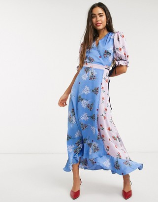 Liquorish wrap front maxi dress in pastel floral print mix