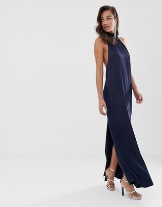 ASOS EDITION halter column maxi dress in satin