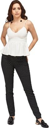 Ex Zara Ladies New Polka Dot Woman Skinny Spandex Slim Twill Jeans Trouser (8