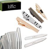 BMC 4pc Mens Ultra Thin Bobby Pin Style Tie Bar With 8 Pairs Collar Stay