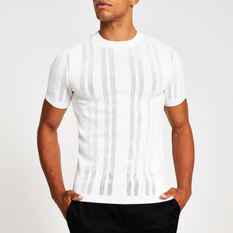 River Island White slim fit pointelle knitted T-shirt