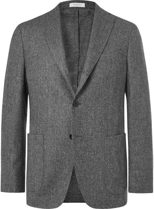 Boglioli Dark-Grey K-Jacket Unstructured Melange Virgin Wool Blazer