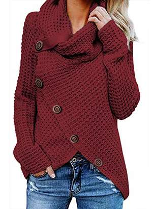 Actloe Women Cowl Neck Long Sleeve Asymmetrical Hem Sweaters Front Wrap with Button Pullover Jumper