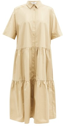Co Tiered Cotton-sateen Midi Shirt Dress - Camel