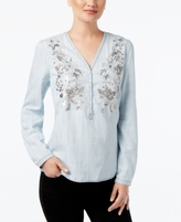INC International Concepts Petite Embroidered Blouse, Created for Macy's