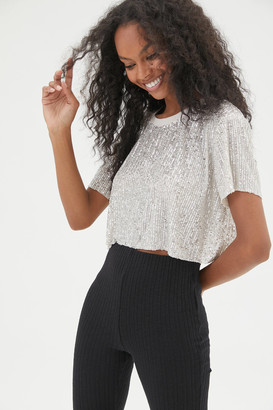 Urban Outfitters West Sequin Cropped Tee