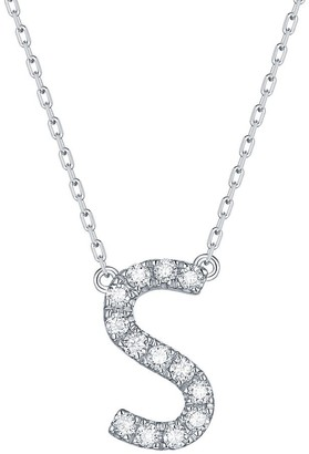 Lab Grown Diamond 'S' Letter Initial Necklace, 1/5 Ctw 10K Solid Gold by Smiling Rocks