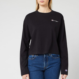 Champion Women's Long Sleeve Crew Neck Cropped T-Shirt