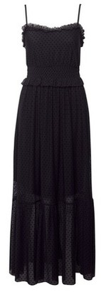 Dorothy Perkins Womens Black Mesh Flock Dobby Midi Dress, Black