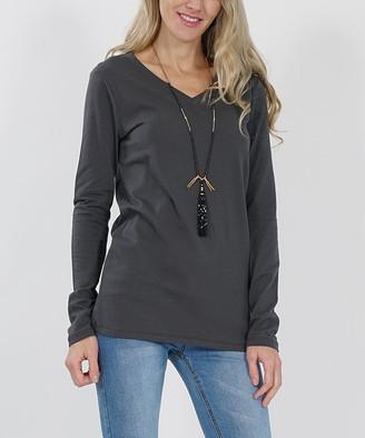 Ash Lydiane Women's Tunics  Gray V-Neck Long-Sleeve Top - Women & Plus