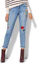 New York & Co. Soho Jeans - Patched Relaxed Boyfriend - Broken Blue Wash