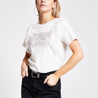 River Island Womens Petite Beige 'Amour' diamante frill T-shirt