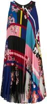 Twin-Set Mixed-Print Pleated Dress