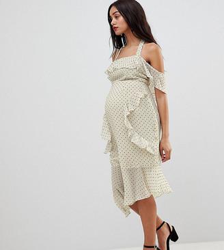Asos DESIGN Maternity soft pencil midi dress in ruffle spot print