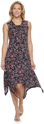 Nina Leonard Women's Print Lace-Up Handkerchief Hem Dress