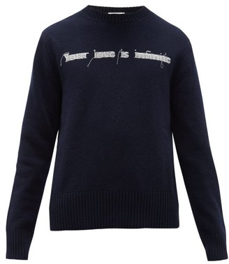 Valentino Embroidered Virgin-wool Sweater - Navy