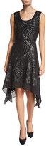 Diane von Furstenberg Nikkole Embellished Handkerchief-Hem Dress, Black