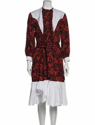 Batsheva Floral Print Midi Length Dress Black