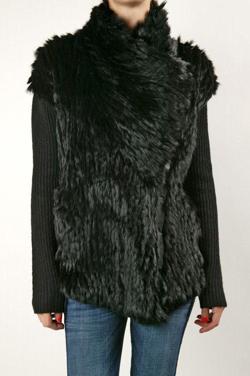 Helmut Lang Fur Trim Sweater Jacket