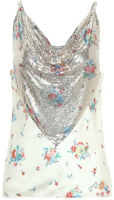 Paco Rabanne Floral chain-mail camisole