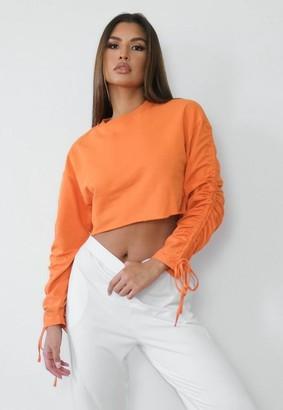 Missguided Orange Ruched Sleeve Sweatshirt