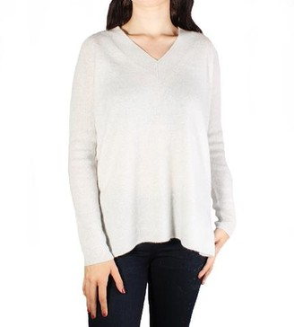 White + Warren V Neck Tunic Platinum Heather