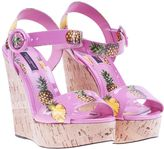 Dolce & Gabbana Pineapple Print Wedge Sandals