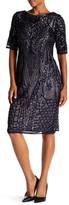 R & M Richards R&M Richards Sequin Pattern Elbow Sleeve Dress