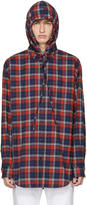 Balenciaga Red Hooded Flannel Shirt