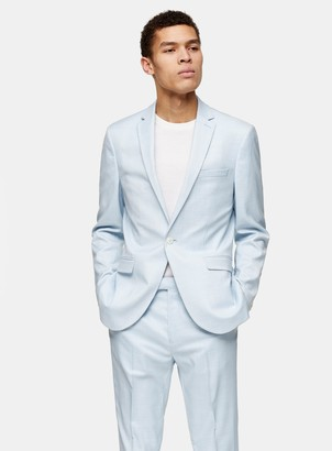Topman Light Blue Slim Fit Single Breasted Suit Blazer With Notch Lapels