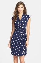 Eliza J Women's Polka Dot Jersey Faux Wrap Dress